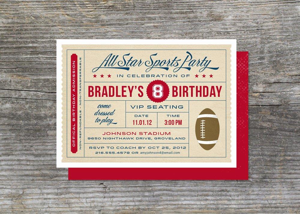 Sports Ticket Invitation Inspirational Sports Birthday Invitation Sports Ticket by Brightsideprints