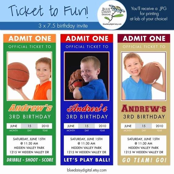 Sports Ticket Invitation Lovely Sport Birthday Ticket Invitations Custom by Bluedaisydigital