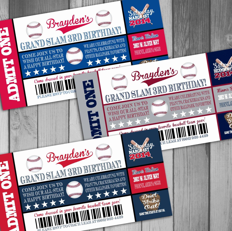 Sports Ticket Invitation Luxury Baseball Birthday Ticket Invitations Sports by Claceydesign