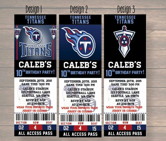 Sports Ticket Invitation Luxury Tennessee Titans Birthday Invitation Football Ticket