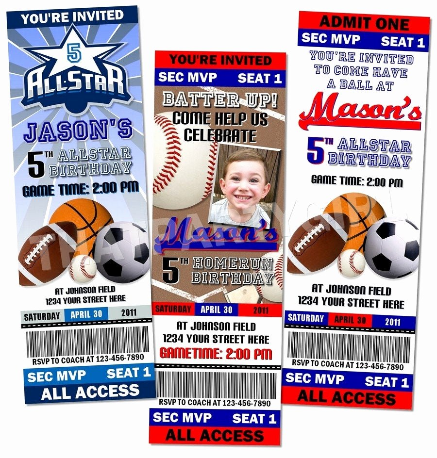 Sports Ticket Invitation Template Free Awesome Sports Birthday Party Ticket Style Invitations Favors Mvp