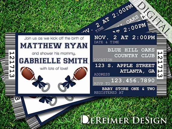 Sports Ticket Invitation Template Free Elegant Sports Ticket Baby Boy Shower Invitation Cowboys Dallas