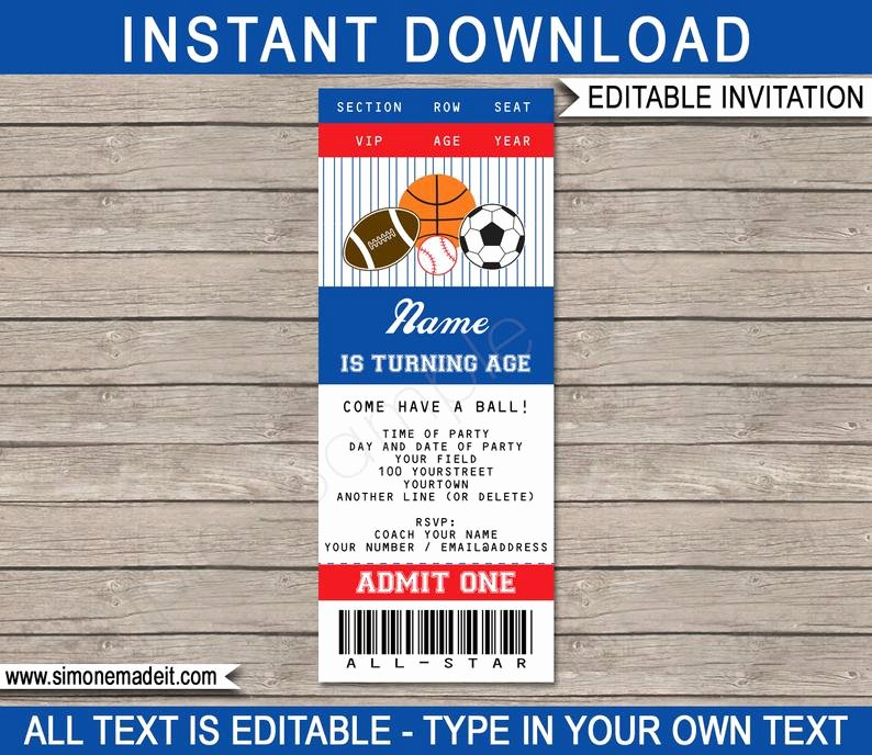 Sports Ticket Invitation Template Free Elegant Sports Ticket Invitation Template All Star Birthday Party