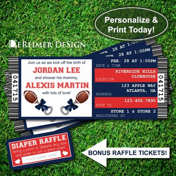 Sports Ticket Invitation Template Free New Items Similar to Sports Ticket Baby Boy Shower Invitation