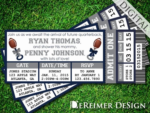 Sports Ticket Invitation Template Free Unique Sports Ticket Baby Boy Shower Invitation Cowboys Dallas