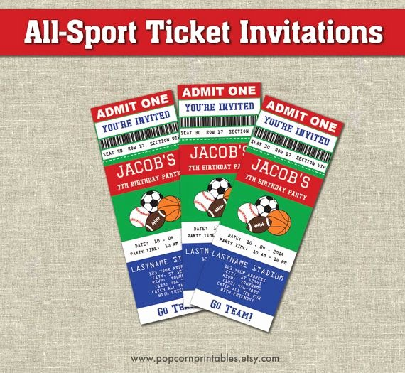 Sports Ticket Invitation Unique 30 Best Bowman S 2nd Birthday Sports theme Images On