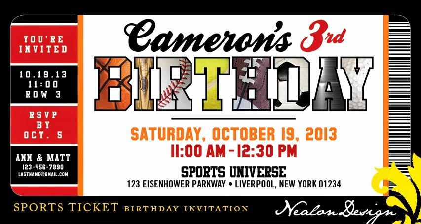 Sports Ticket Invitation Unique Nealon Design Sports Ticket Birthday Invitation