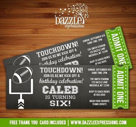 Sports Ticket Invitation Unique Printable Chalkboard Football Ticket Birthday Invitation