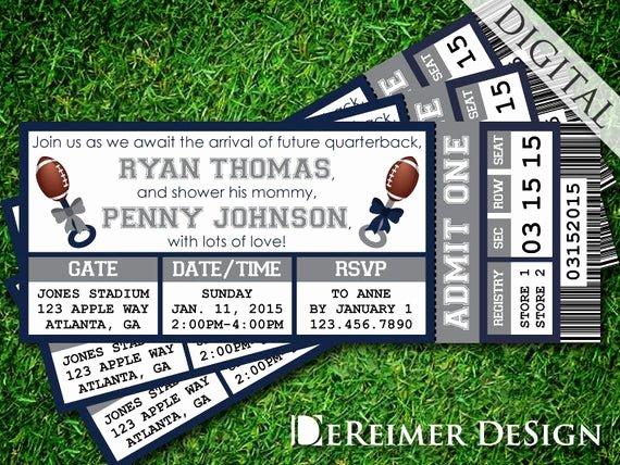 Sports Ticket Invitation Unique Sports Ticket Baby Boy Shower Invitation Cowboys Dallas