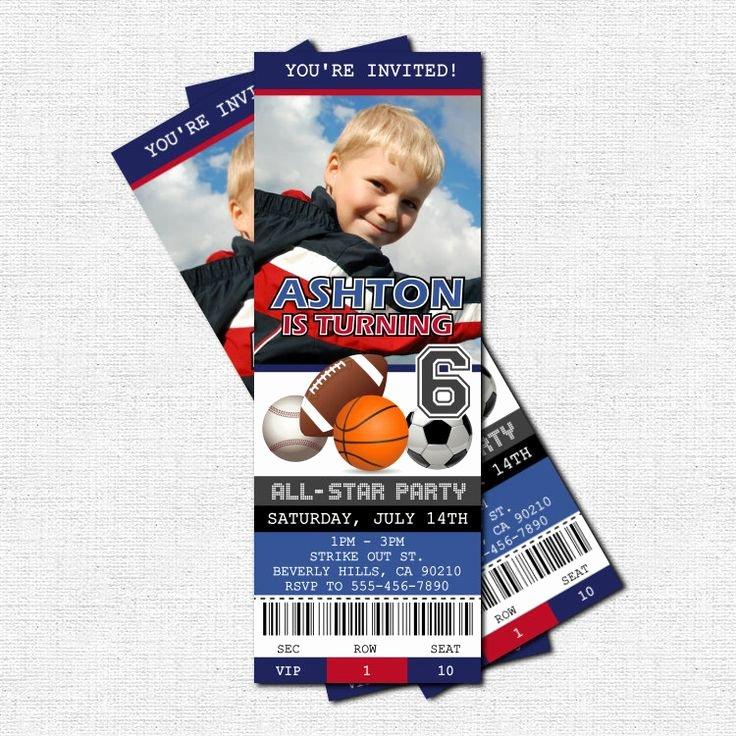 Sports Ticket Invitation Unique Sports Ticket Invitations All Star Birthday Party Print