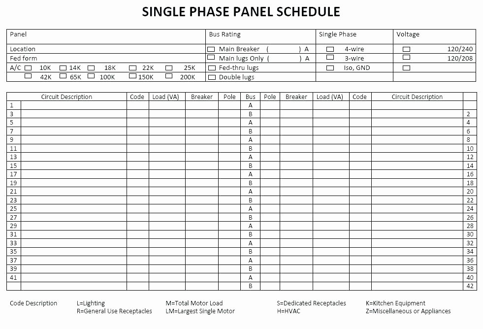 Square D Electrical Panel Schedule Template Fresh Electrical Panel Schedule Template software