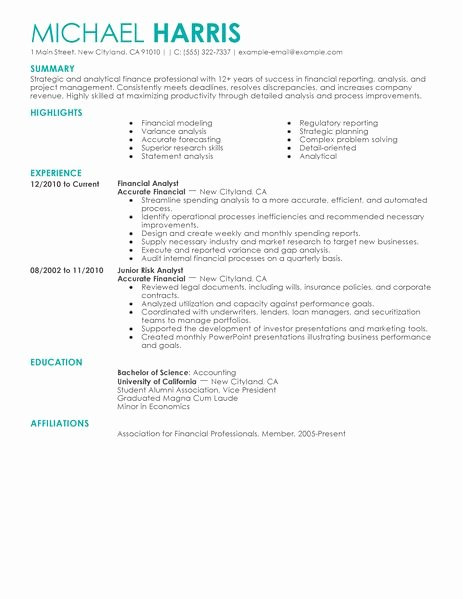 Staff Accounting Resume Samples Awesome Accounting & Finance Resume Examples