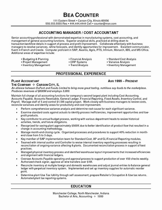 Staff Accounting Resume Samples Beautiful Cost Accountant Resume Example