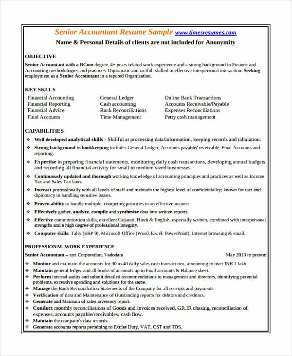 Staff Accounting Resume Samples Elegant 21 Accountant Resume Templates In Pdf