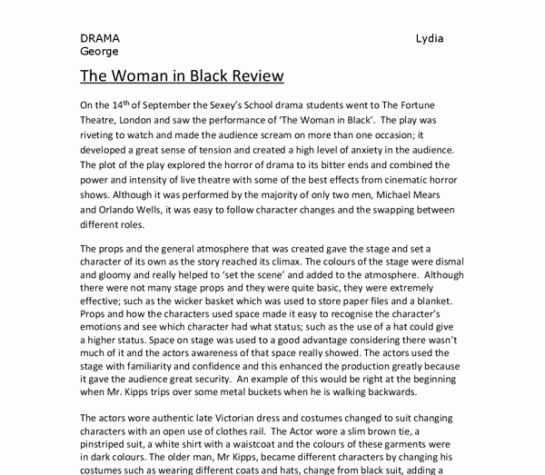 Stage Play format Example Awesome the Woman In Black Review the Props and the General