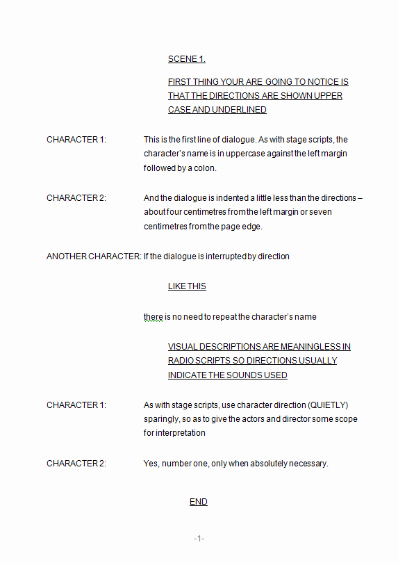 Stage Play format Example Elegant formatting Scripts 3 Radio