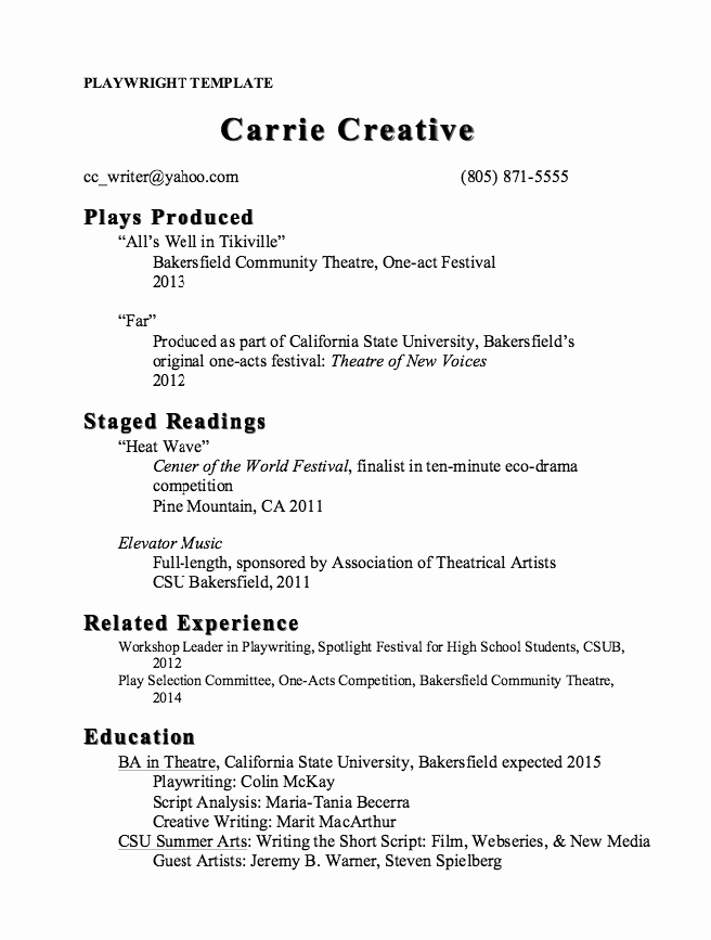 Stage Play format Template Beautiful Pin by Ririn Nazza On Free Resume Sample