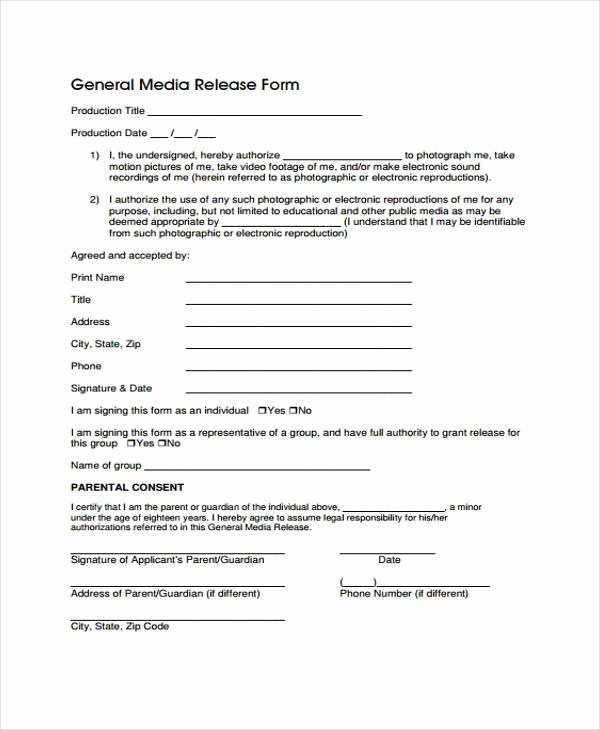 Standard Media Release form Template Beautiful Release form Templates