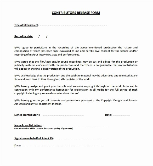 Standard Media Release form Template Elegant 10 Release form Templates to Download for Free