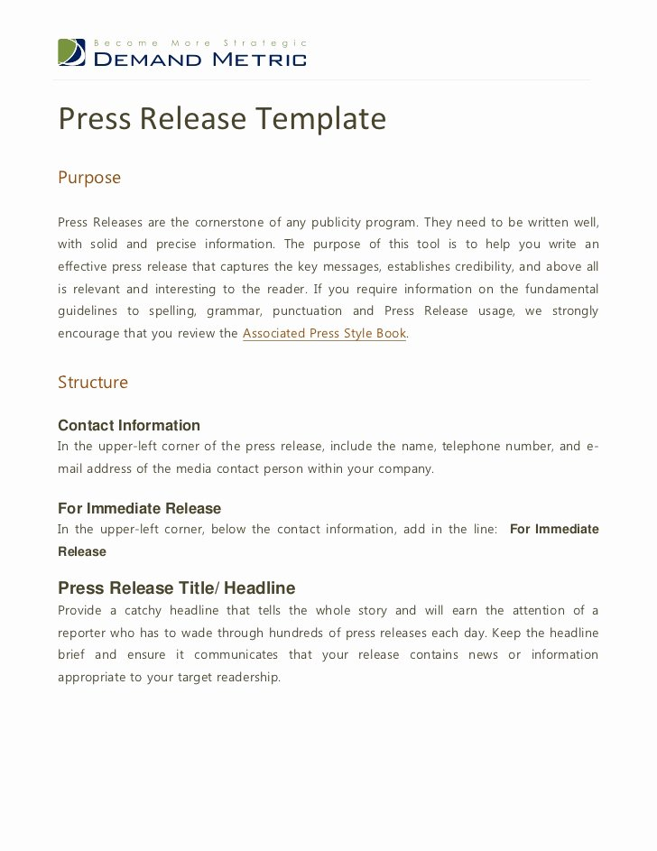 Standard Media Release form Template Elegant Press Release Template