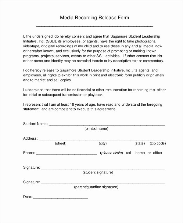 Standard Media Release form Template Unique 50 Sample Release forms