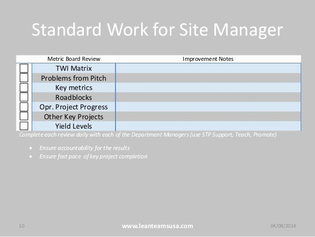 Standard Work Template Beautiful Standard Work for Leaders