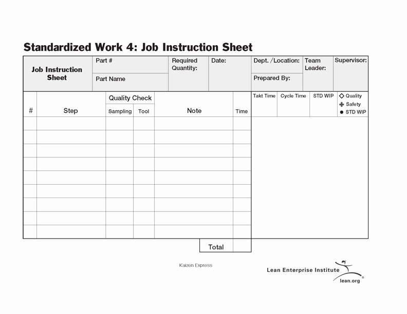Standard Work Template Luxury Standardized Work Job Instruction Sheet