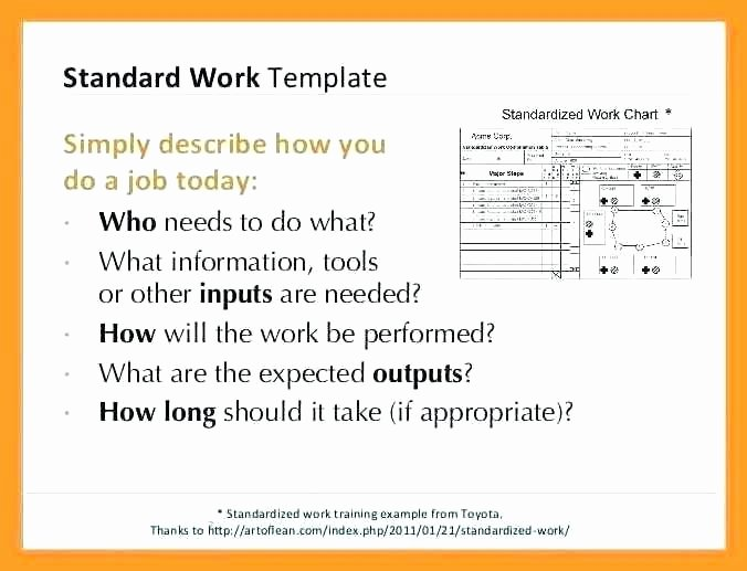 Standard Work Templates Excel Inspirational Standard Work Template – Thomashobbs