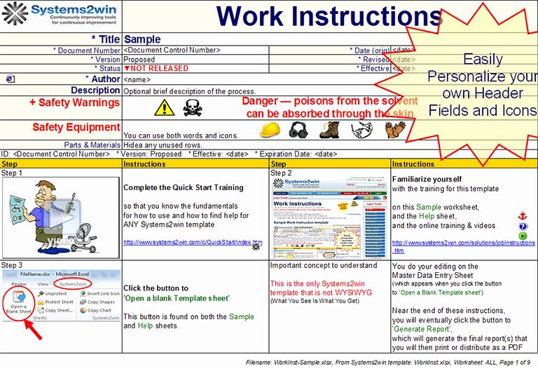 Standardized Work Instructions Templates Best Of Work Instruction Template