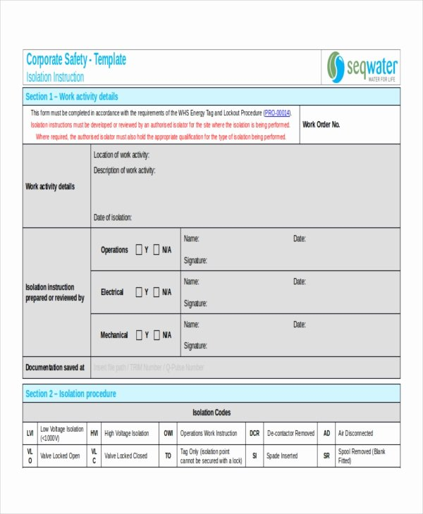 Standardized Work Instructions Templates Lovely 9 Work Instruction Templates Free Sample Example