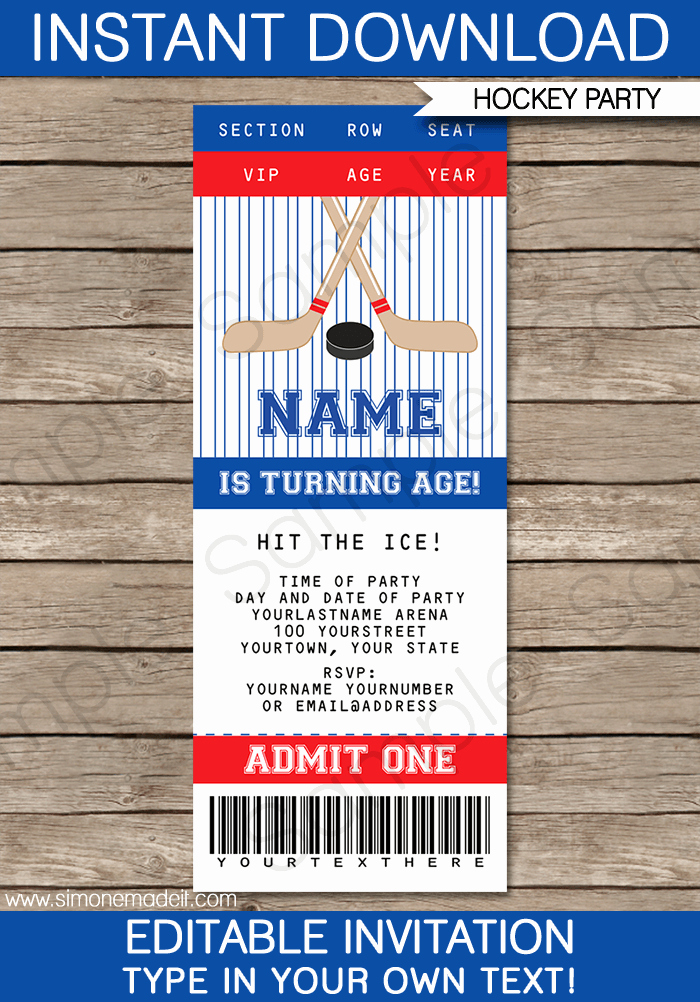 Staples Ticket Template Unique Hockey Ticket Invitations Template – Red & Blue