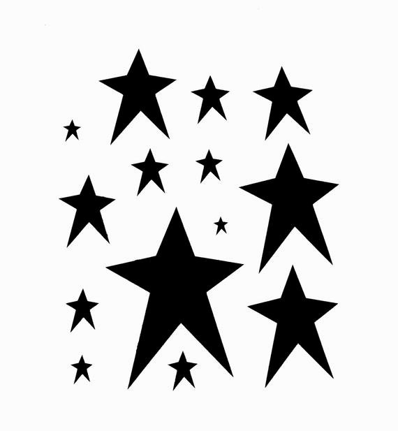 Star Stencil Printable Beautiful Primitive Stars Stencil assorted Stars Celestial by