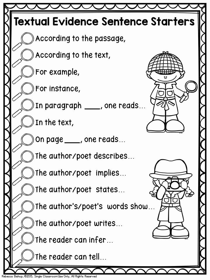 Starter Words for Essays Beautiful Text Evidence Tpt Language Arts Lessons