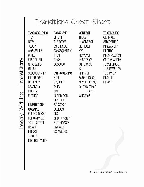 Starter Words for Essays Fresh Transition Words Cheat Sheet for Lang Arts
