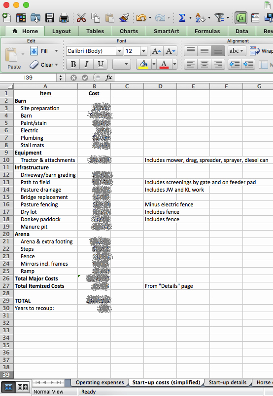 Startup Expenses and Capitalization Spreadsheet Elegant Building & Managing the Small Horse Farm Tracking Farm