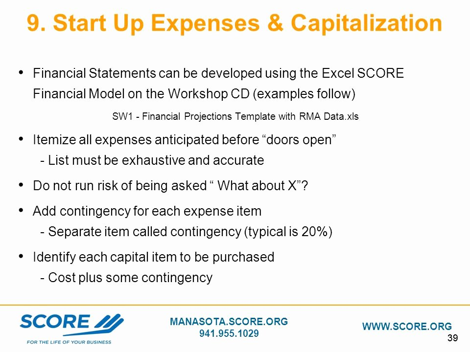 Startup Expenses and Capitalization Spreadsheet New Building Your Business Plan Ppt