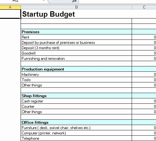 Startup Expenses and Capitalization Spreadsheet Unique Startup Bud Template Excel