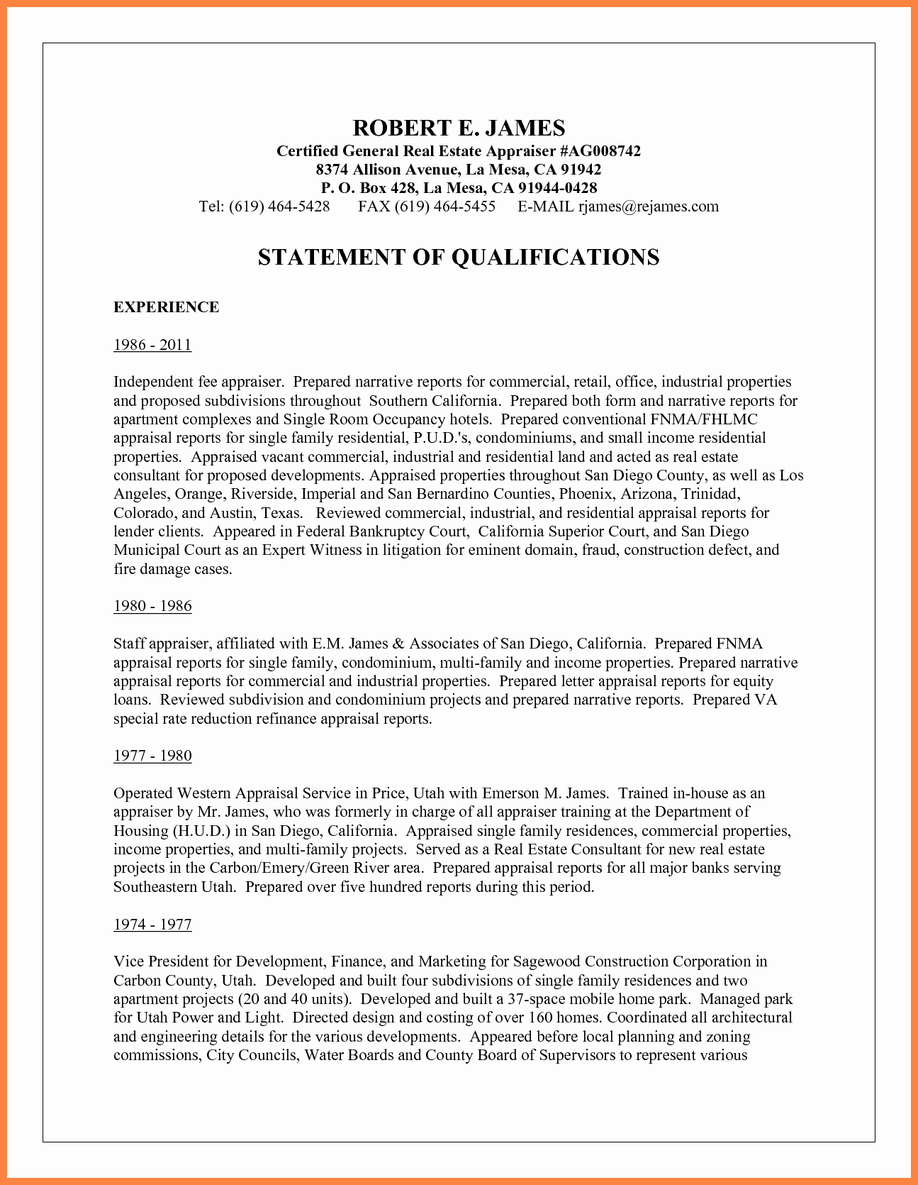 Statement Of Qualifications Template Free Best Of 10 Sample Statement Of Qualifications