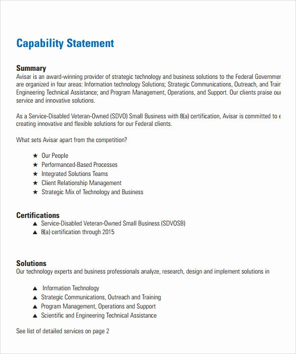 Statement Of Qualifications Template Free Best Of Sample Capability Statement Templates – 14 Documents In