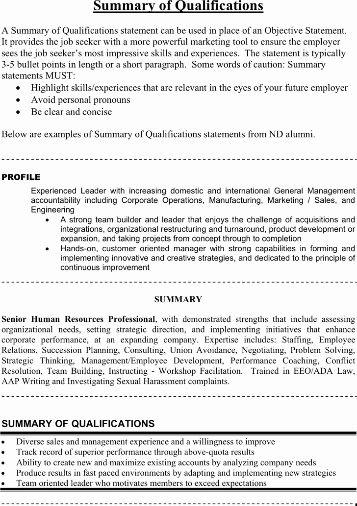 Statement Of Qualifications Template Free Fresh Free Summary Of Qualifications Example Pdf 26kb