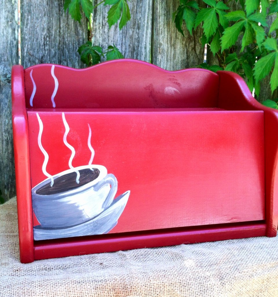 Steam Custom Info Box Art Inspirational Red Bread Box with Coffee Cup and Steam Rising Up Over the top