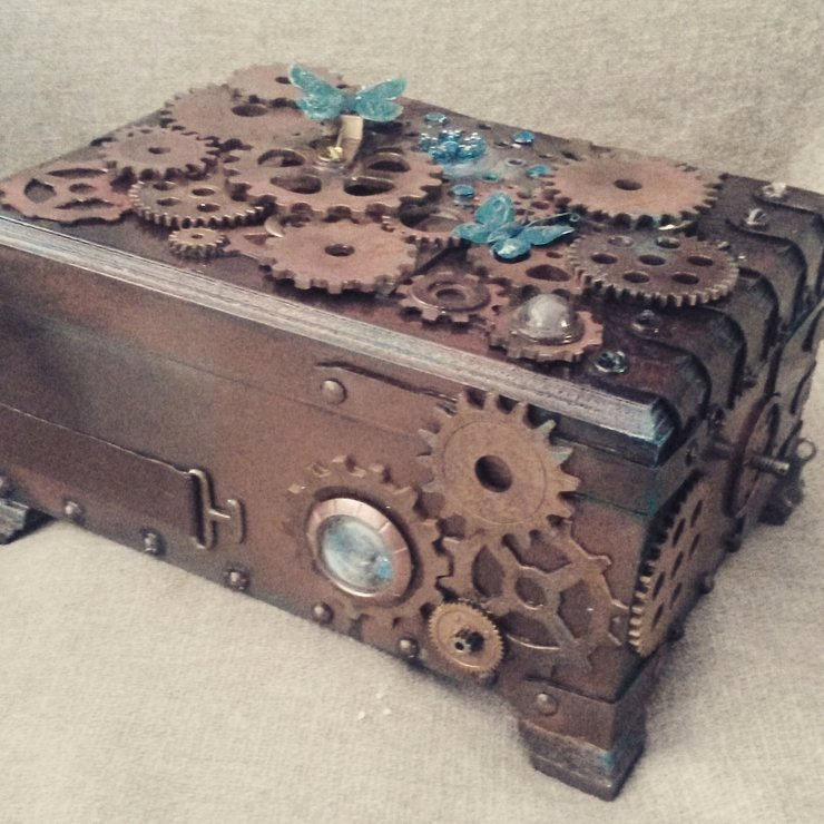 Steam Custom Info Box Art Luxury Steampunk Jewellery Box Custom Made by Wild Cherries