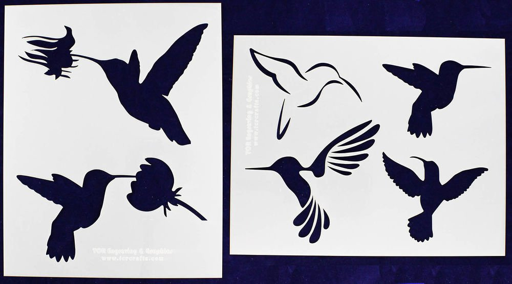 Stencil Templates for Painting Fresh 2 Piece Set Hummingbird Stencils Mylar 14 Mil Painting