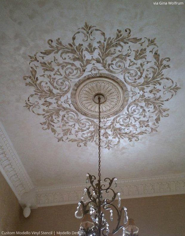 Stencil Templates for Painting Fresh Stenciled Ceiling by Gina Wolfrum Using Custom Modello