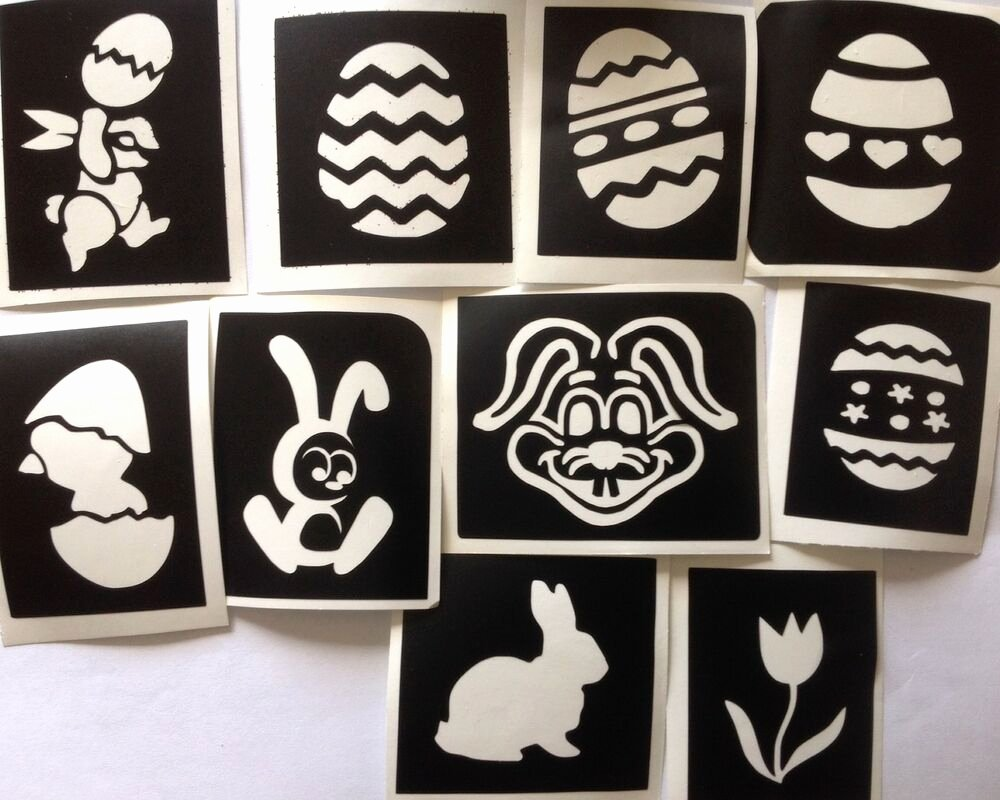 Stencil Templates for Painting New 10 X Easter Stencils 2 top Up Your Glitter Tattoo Kit Face