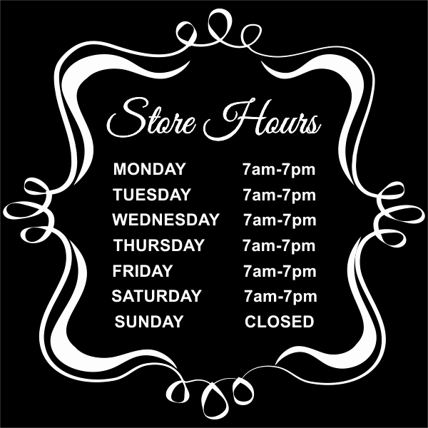 Store Hours Sign Template Awesome Fancy Store Hours Vinyl Sign Custom Signs