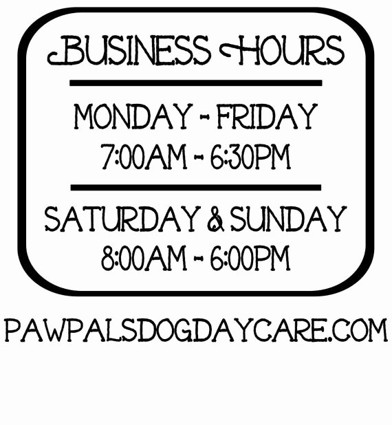 Store Hours Sign Template Beautiful Business Hours Vinyl Decal Store Hours Open Hours