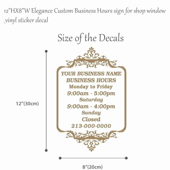 Store Hours Sign Template Elegant 12hx8w Elegance Custom Business Hours Sign for by