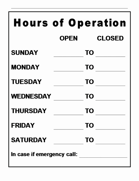 Store Hours Sign Template Inspirational Hours Operation Template
