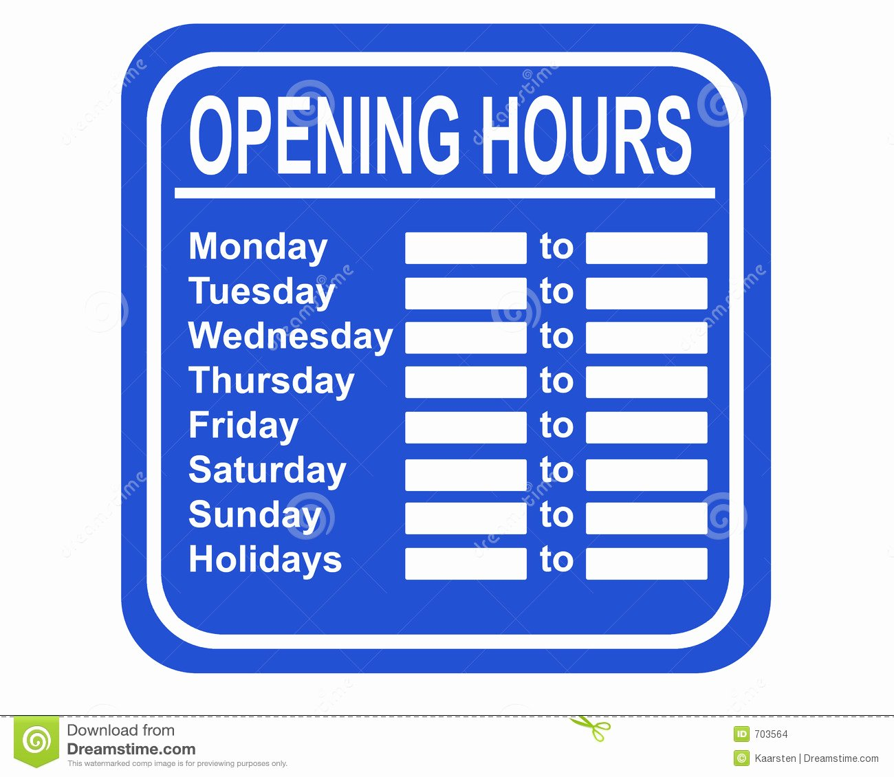 Store Hours Sign Template New Opening Hours Stock Illustration Illustration Of Seller